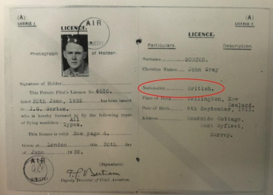 Gorton UK pilot licence